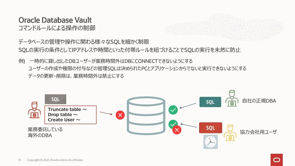 コマンドルールによる操作の制御 データベースの管理や操作に関わる様々なSQLを細かく制限 SQ...