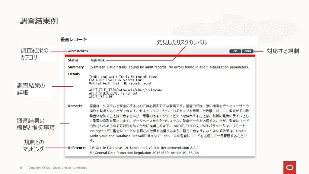 調査結果例 Copyright © 2021, Oracle and/or its affil...