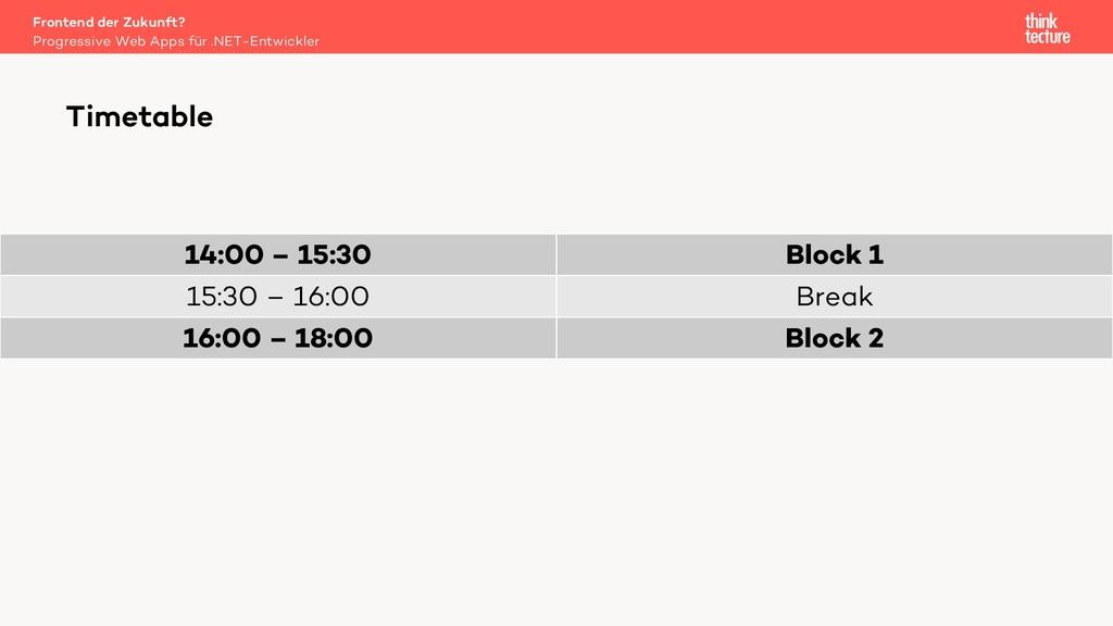 14:00 – 15:30 Block 1 15:30 – 16:00 Break 16:00...