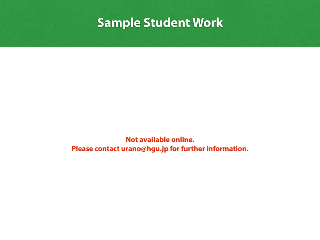 Sample Student Work Not available online.   Ple...