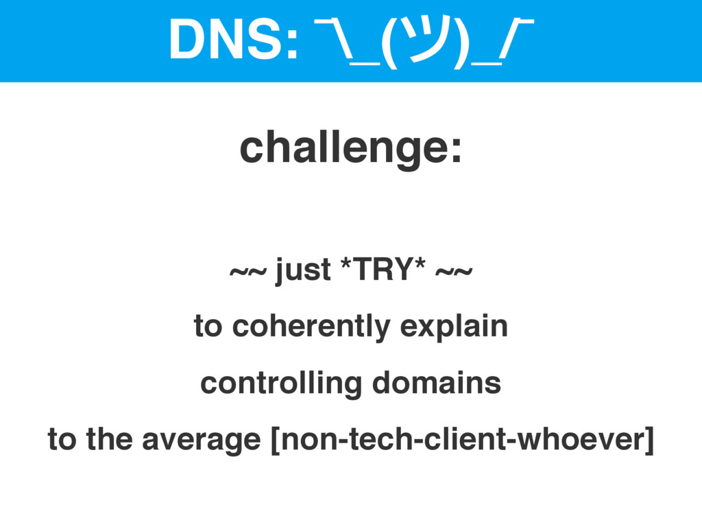 DNS: ¯\_(ツ)_/¯ ~~ just *TRY* ~~ to coherently e...