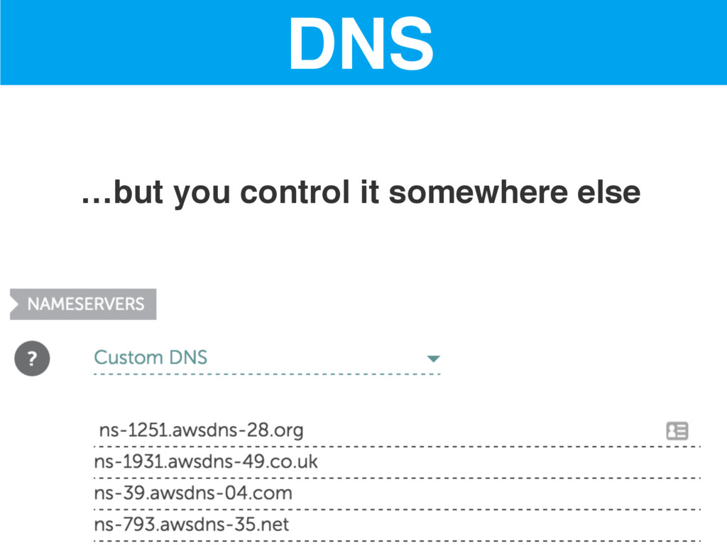 …but you control it somewhere else DNS