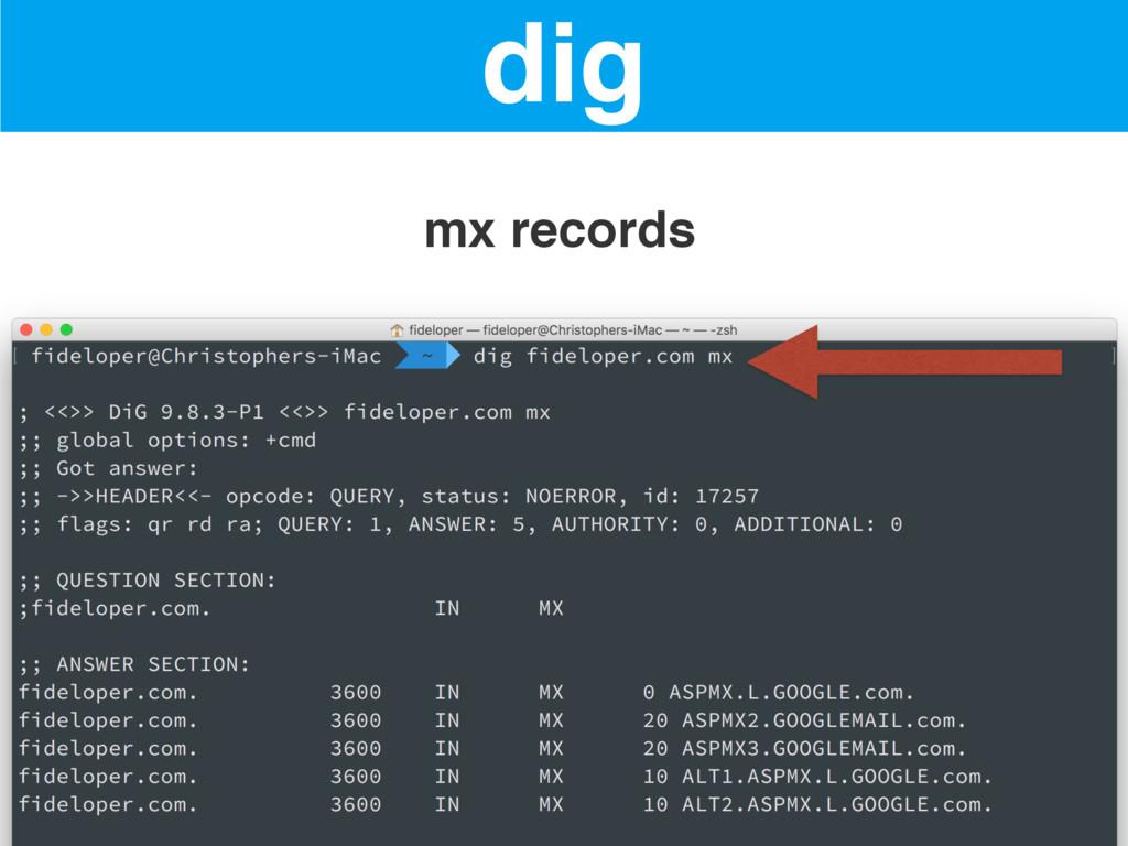 dig mx records