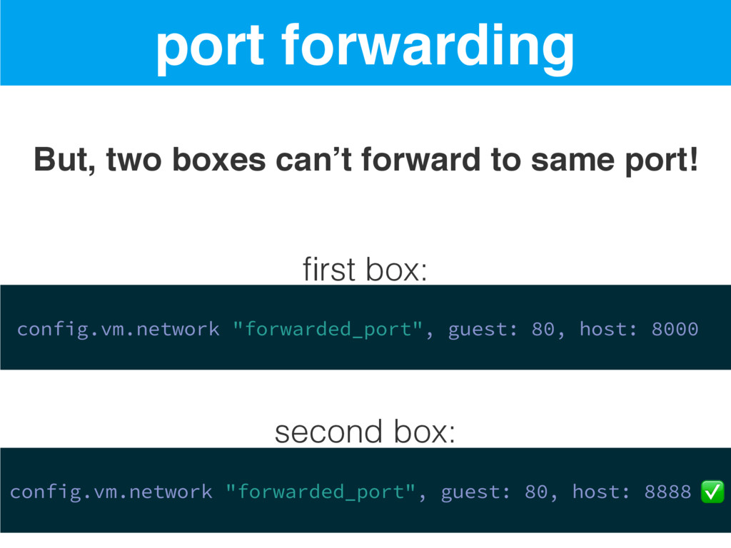 port forwarding But, two boxes can't forward to...