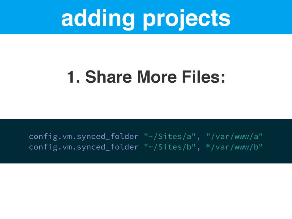 adding projects 1. Share More Files: config.vm....