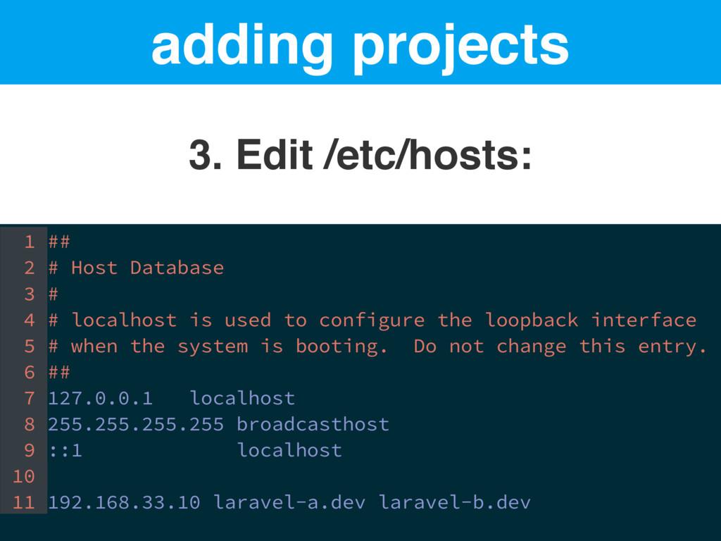 adding projects 3. Edit /etc/hosts: 1 ## 2 # Ho...
