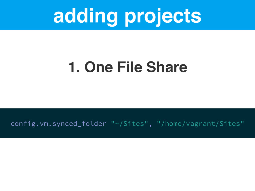 adding projects 1. One File Share config.vm.syn...