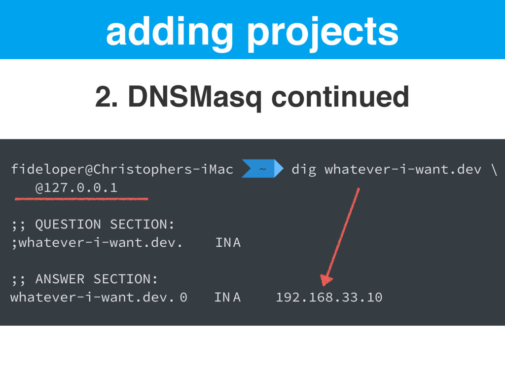 adding projects 2. DNSMasq continued fideloper@...