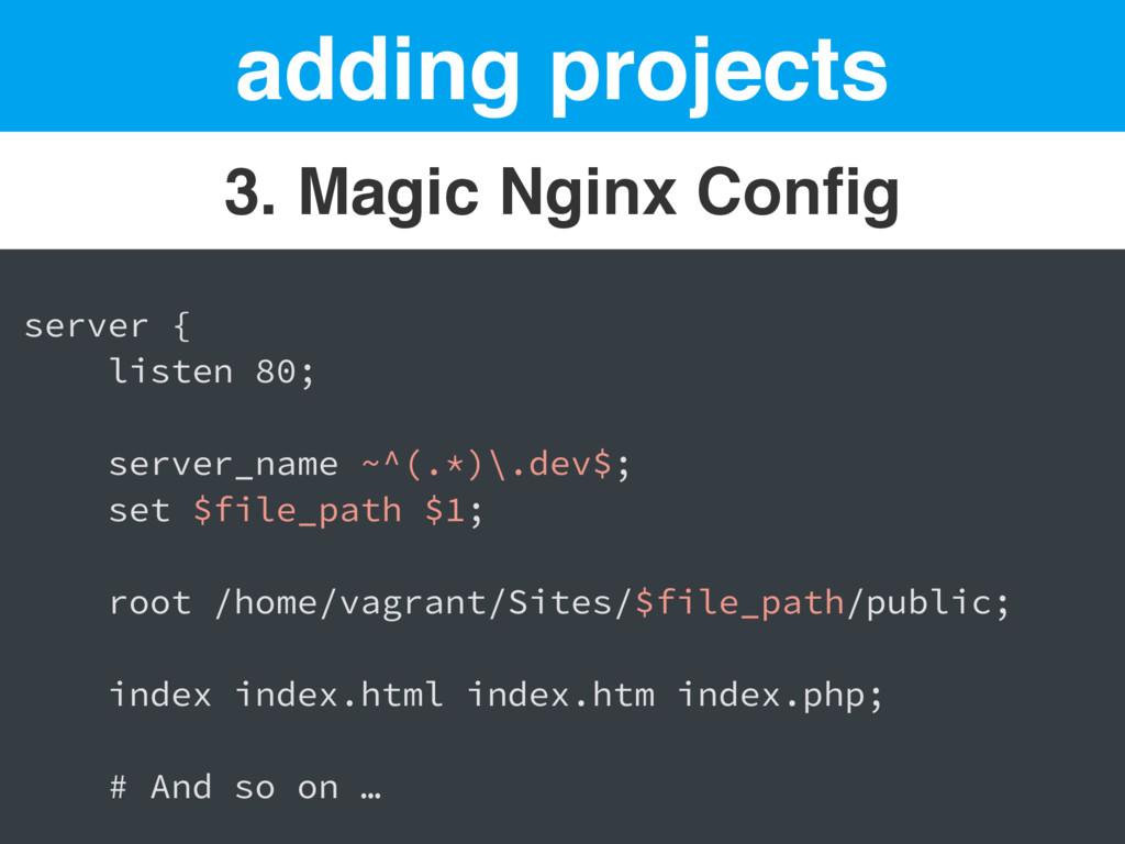 adding projects 3. Magic Nginx Config server { l...