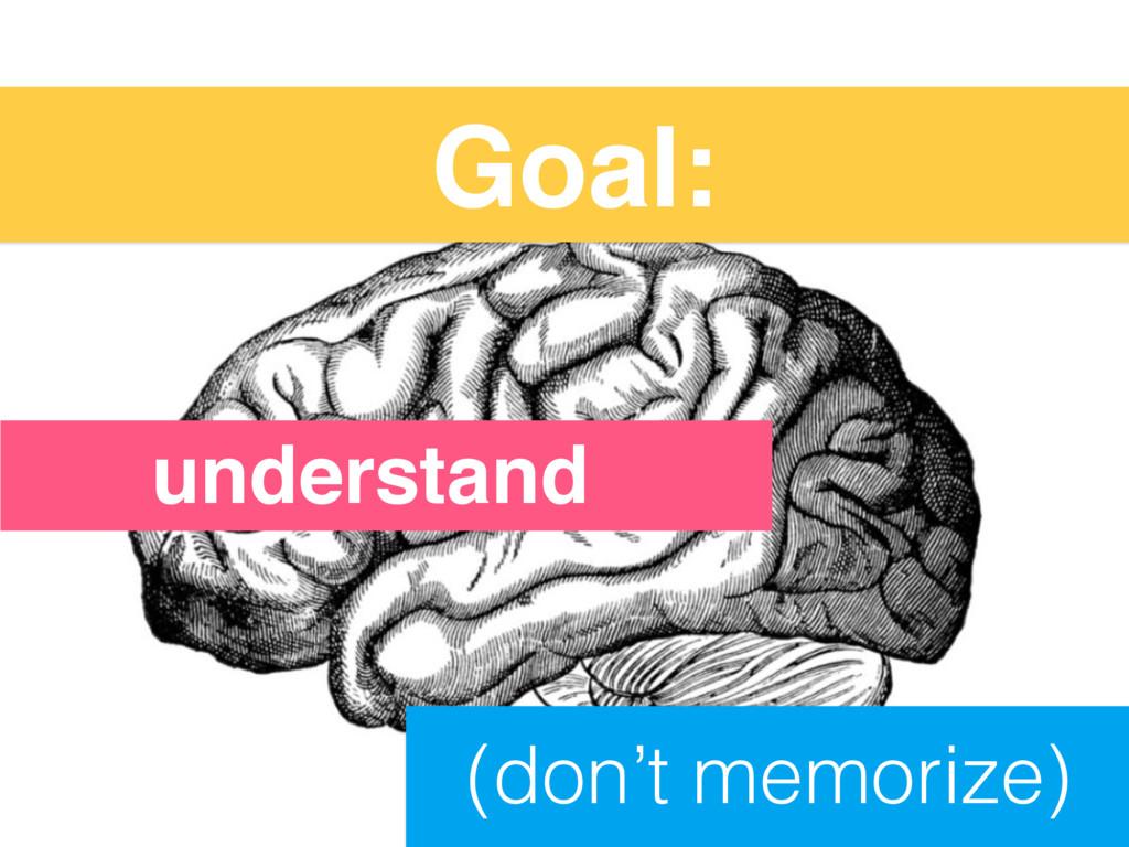 Goal: (don't memorize) understand