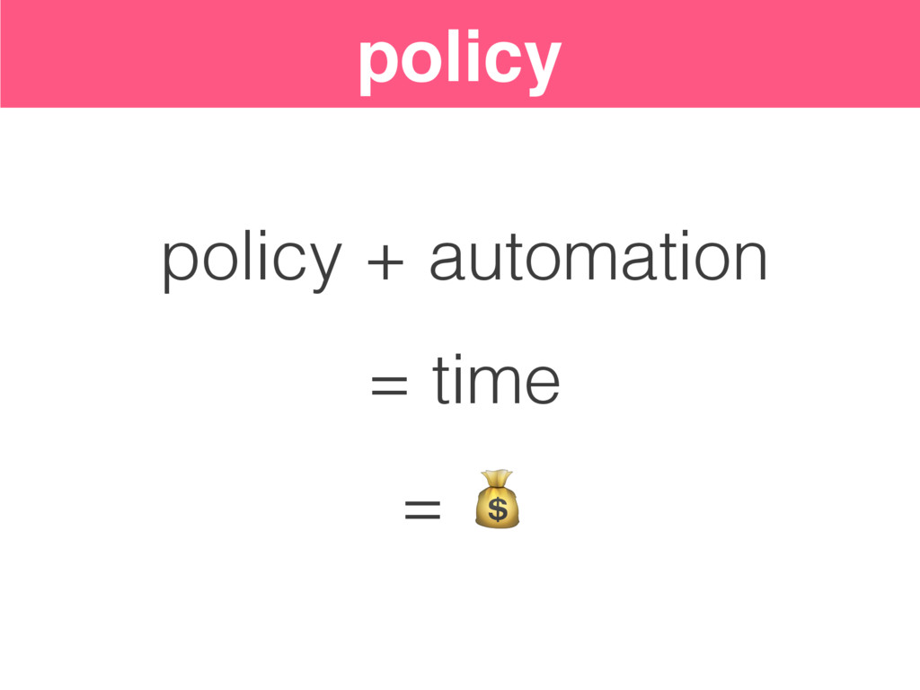 policy policy + automation = time =