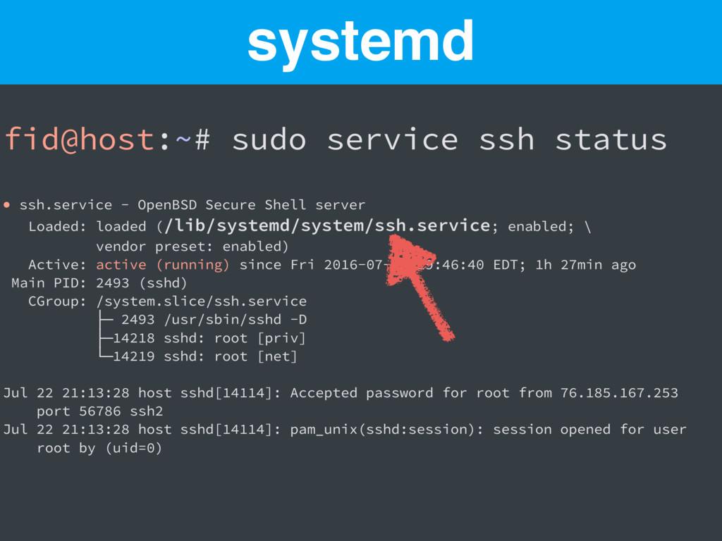 fid@host:~# sudo service ssh status ● ssh.servi...