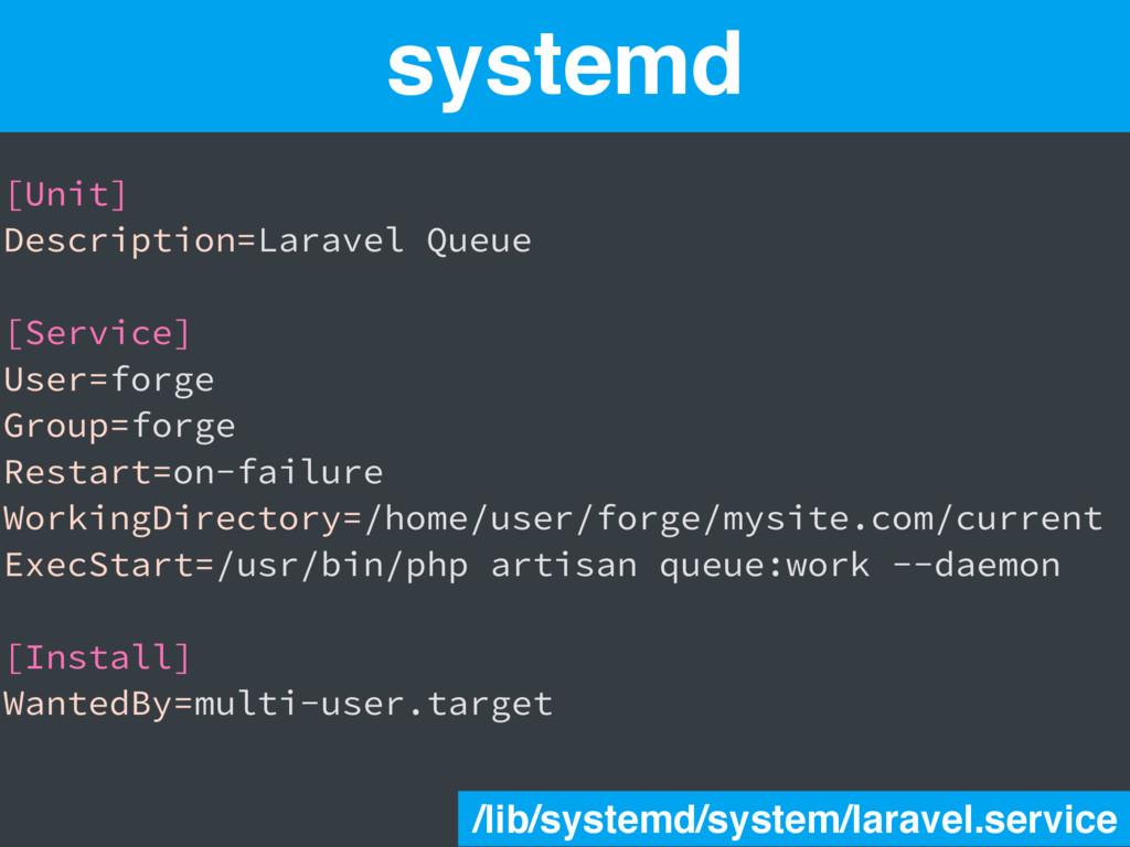 systemd [Unit] Description=Laravel Queue [Servi...