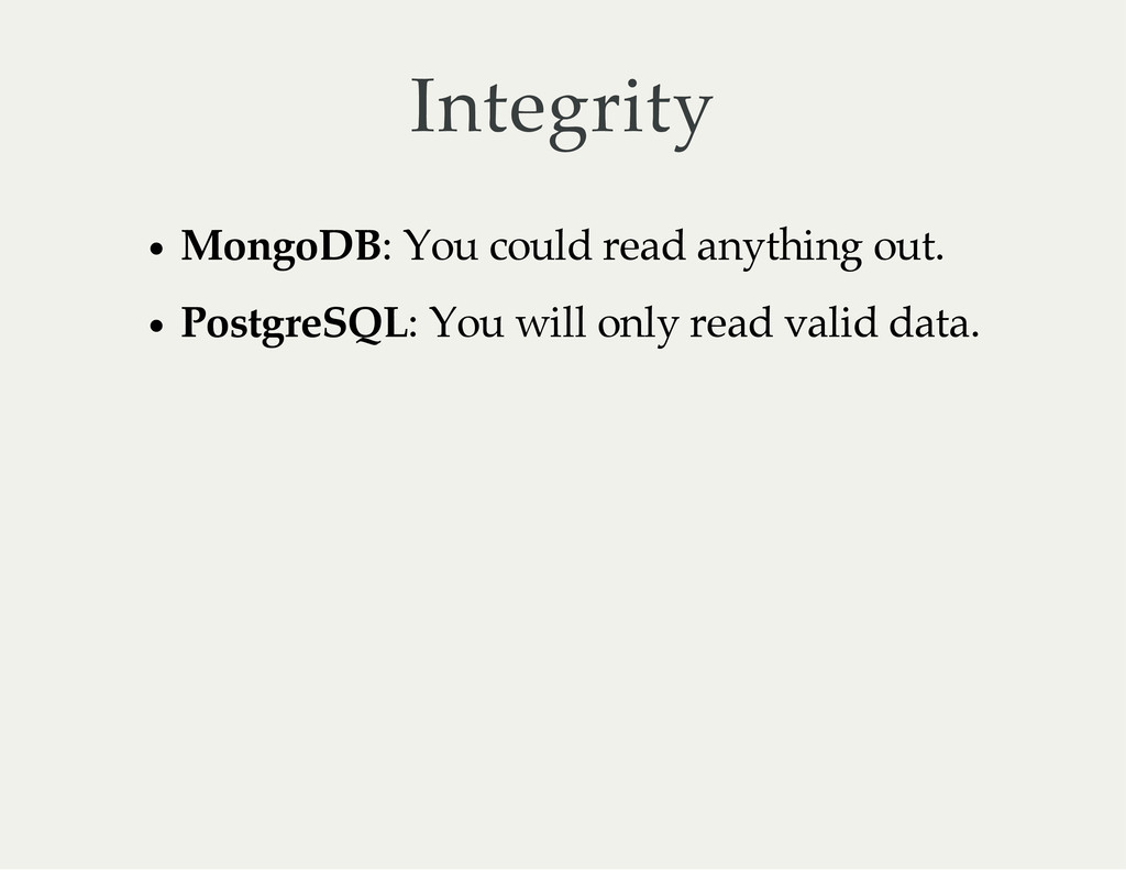 Integrity MongoDB: You could read anything out....