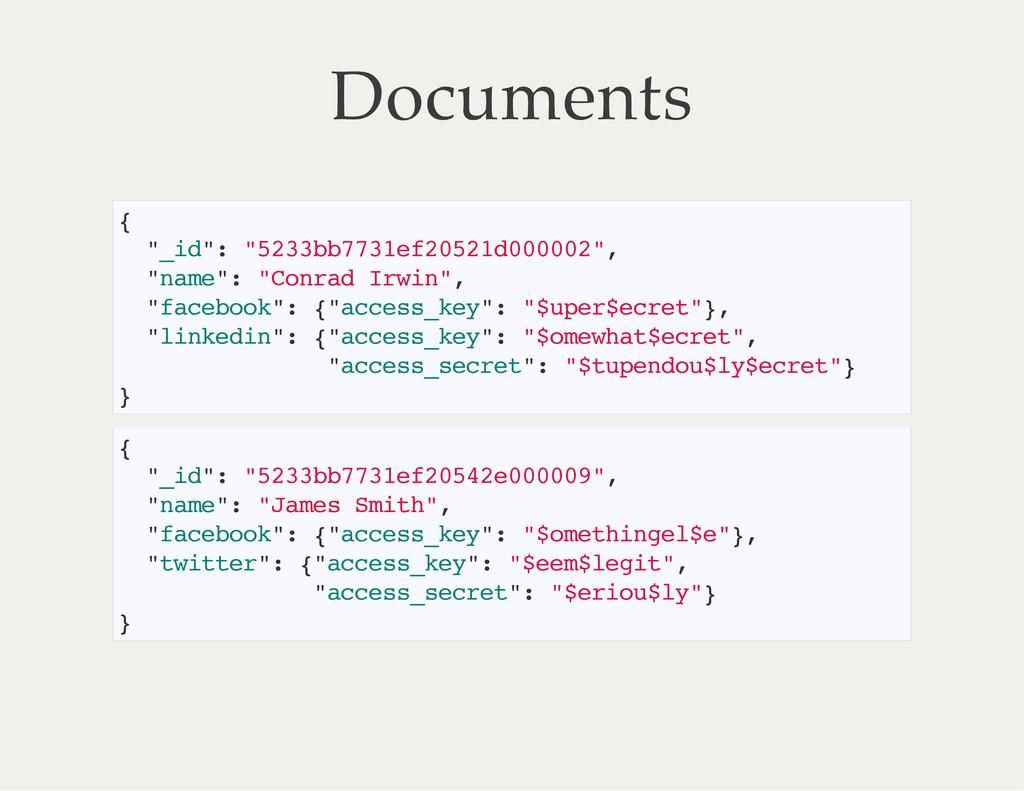 """Documents { """" _ i d """" : """" 5 2 3 3 b b 7 7 3 1 e..."""