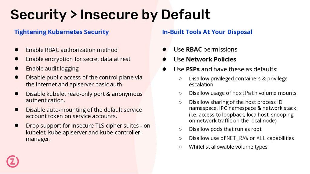 Tightening Kubernetes Security ● Enable RBAC au...