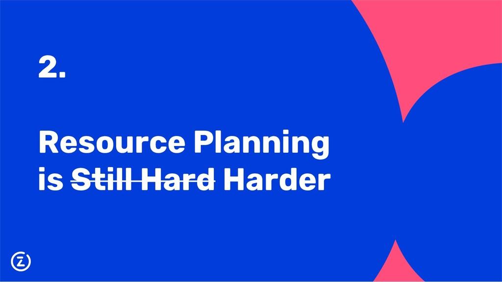 2. Resource Planning is Still Hard Harder