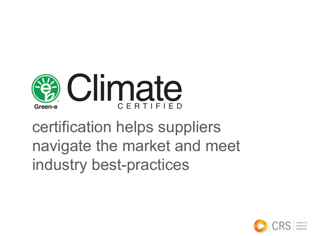 certification helps suppliers navigate the mark...