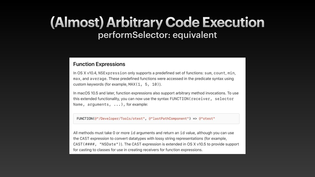 (Almost) Arbitrary Code Execution performSelect...