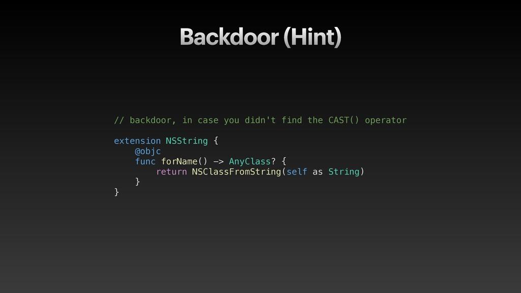 Backdoor (Hint) // backdoor, in case you didn't...