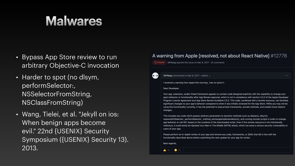 Malwares • Bypass App Store review to run arbit...