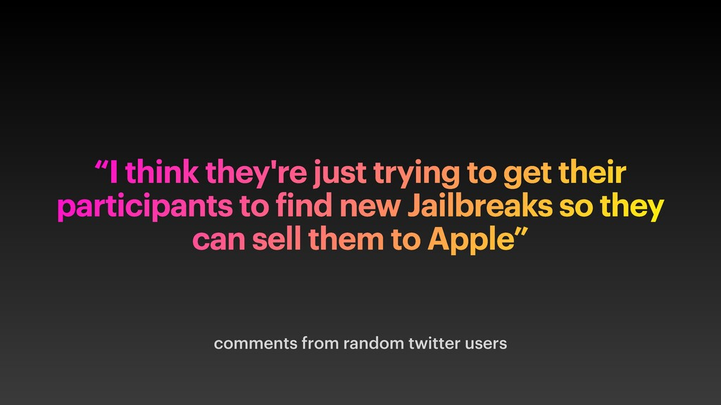 """comments from random twitter users """"I think the..."""
