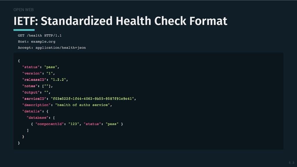 OPEN WEB IETF: Standardized Health Check Format...