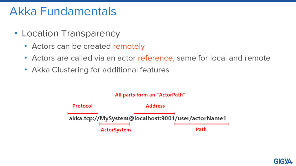 Akka Fundamentals • Location Transparency • Act...