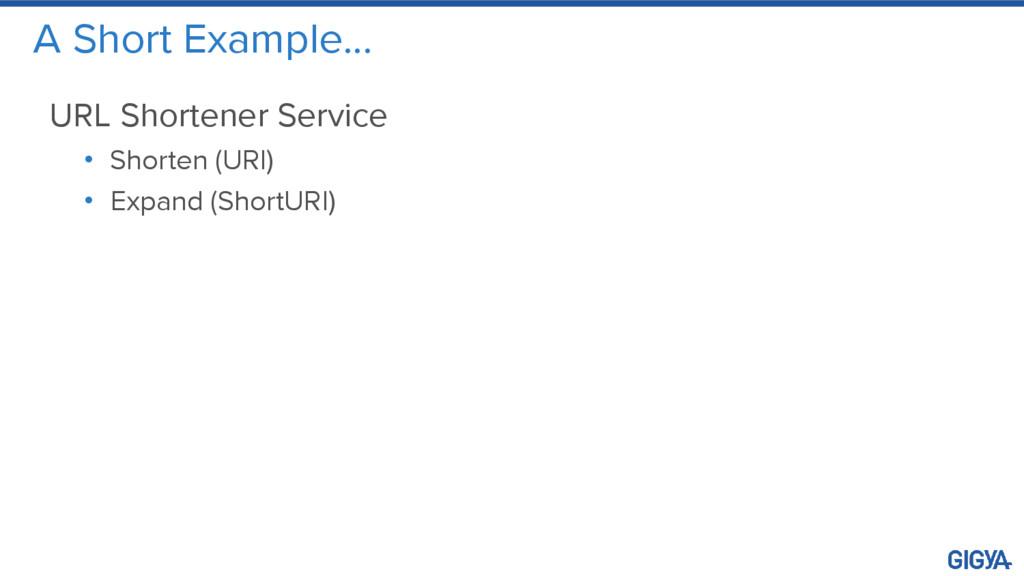 A Short Example… URL Shortener Service • Shorte...