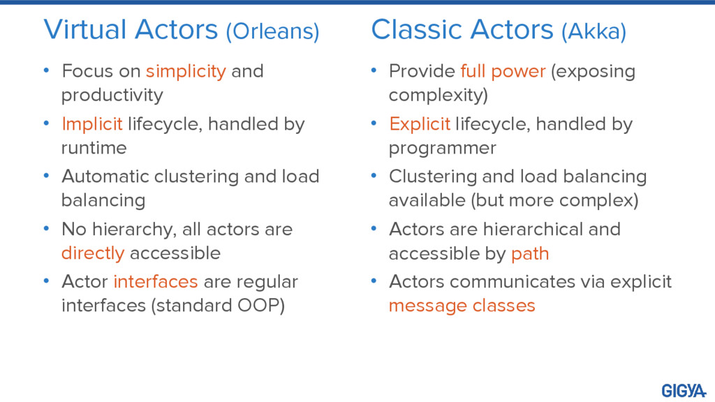Virtual Actors (Orleans) • Focus on simplicity ...