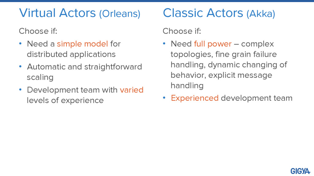 Virtual Actors (Orleans) Choose if: • Need a si...
