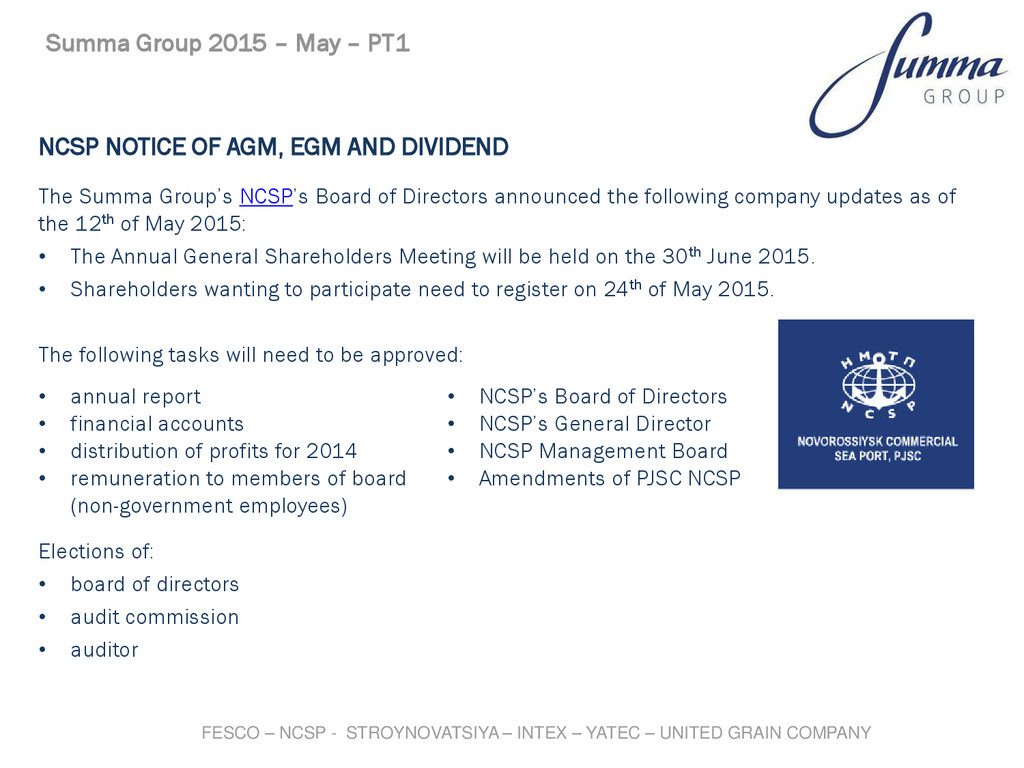 NCSP NOTICE OF AGM, EGM AND DIVIDEND The Summa ...