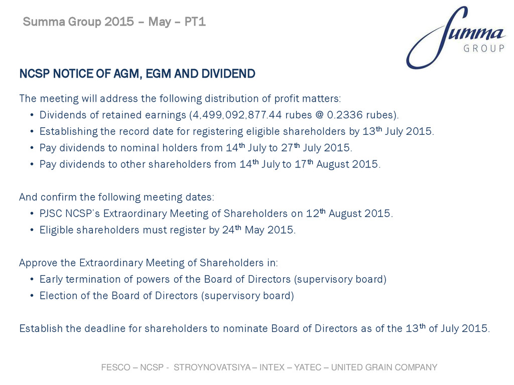 NCSP NOTICE OF AGM, EGM AND DIVIDEND The meetin...