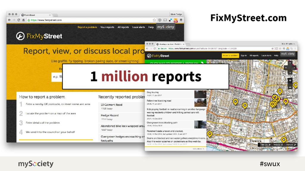 FixMyStreet.com 1 million reports #swux