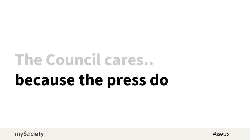 The Council cares.. because the press do #swux