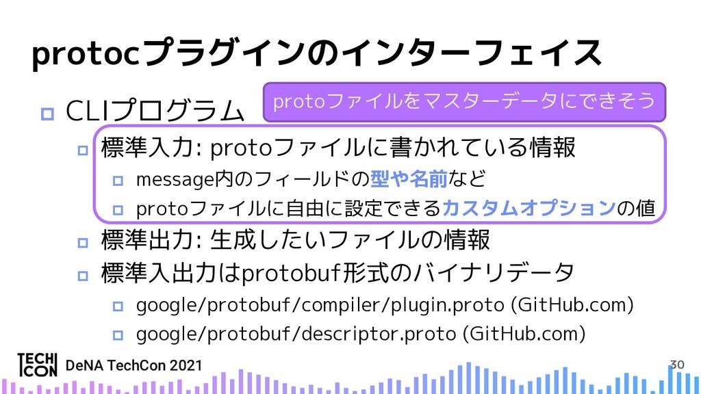 30 protocプラグインのインターフェイス p CLIプログラム p 標準入力: prot...