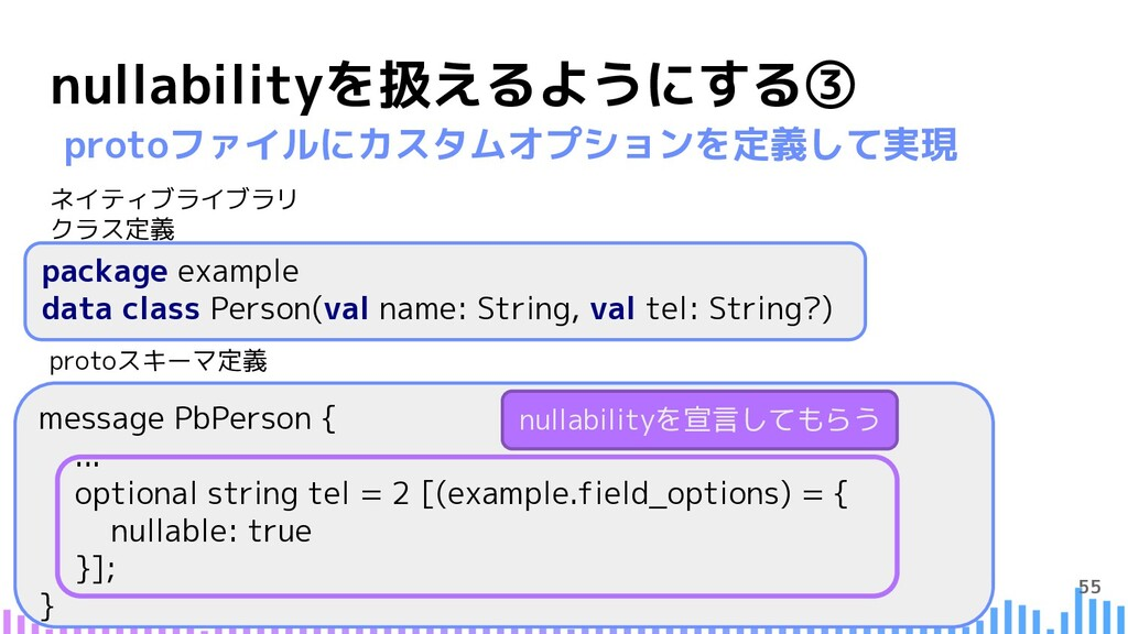 55 nullabilityを扱えるようにする③ package example data c...