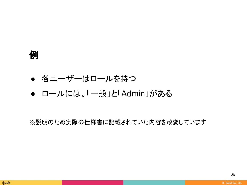 例 ● 各ユーザーはロールを持つ ● ロールには、「一般」と「Admin」がある ※説明のため...