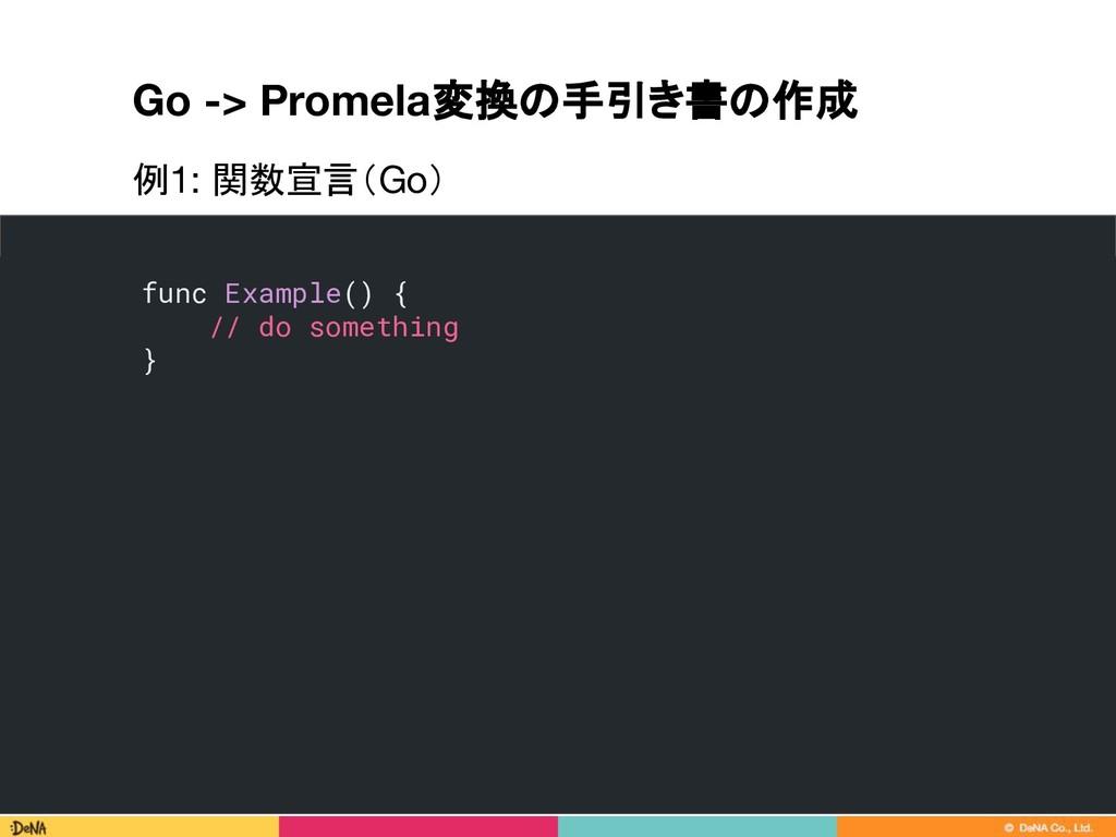 Go -> Promela変換の手引き書の作成 75 func Example() { // ...