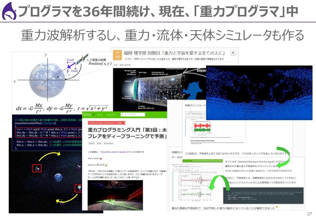 27 プログラマを36年間続け、現在、「重力プログラマ」中 重力波解析するし、重力・流体・天体...