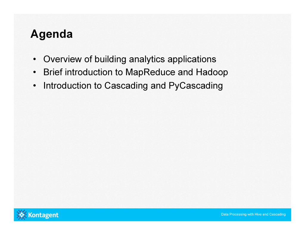 • Overview of building analytics applications ...