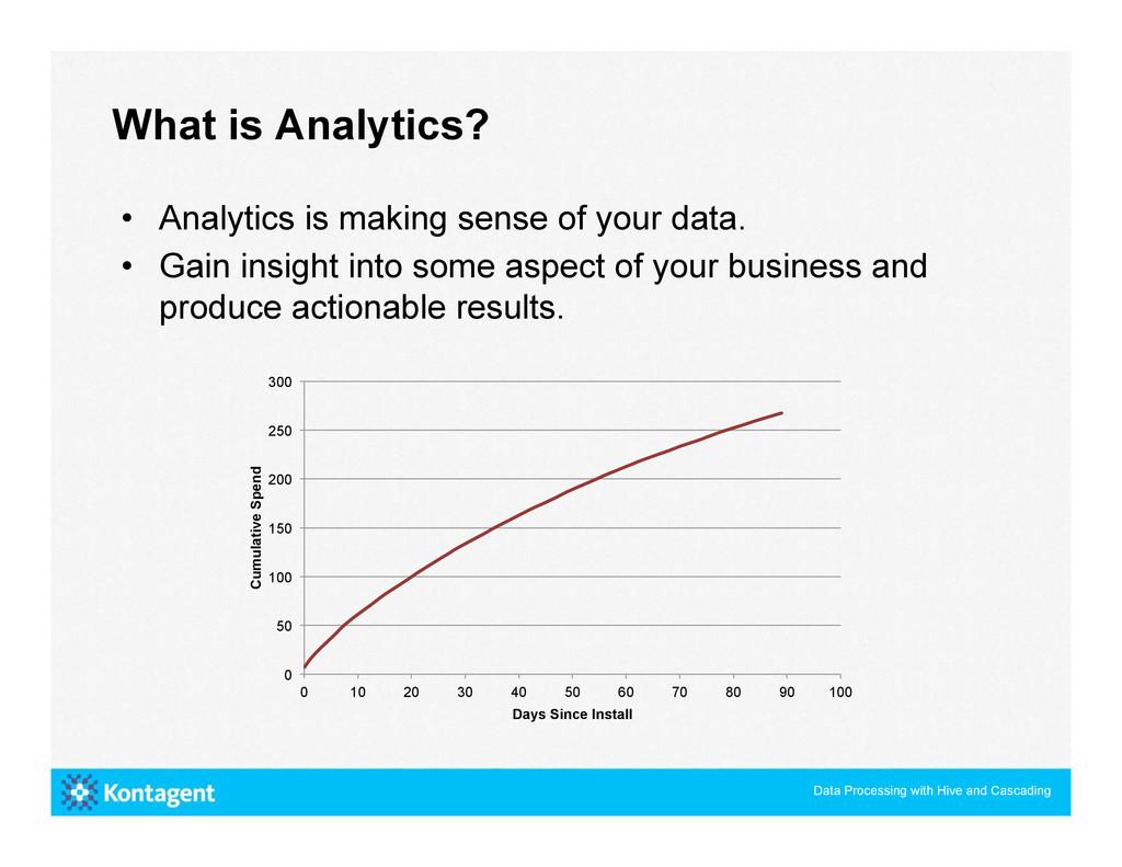 • Analytics is making sense of your data. • G...