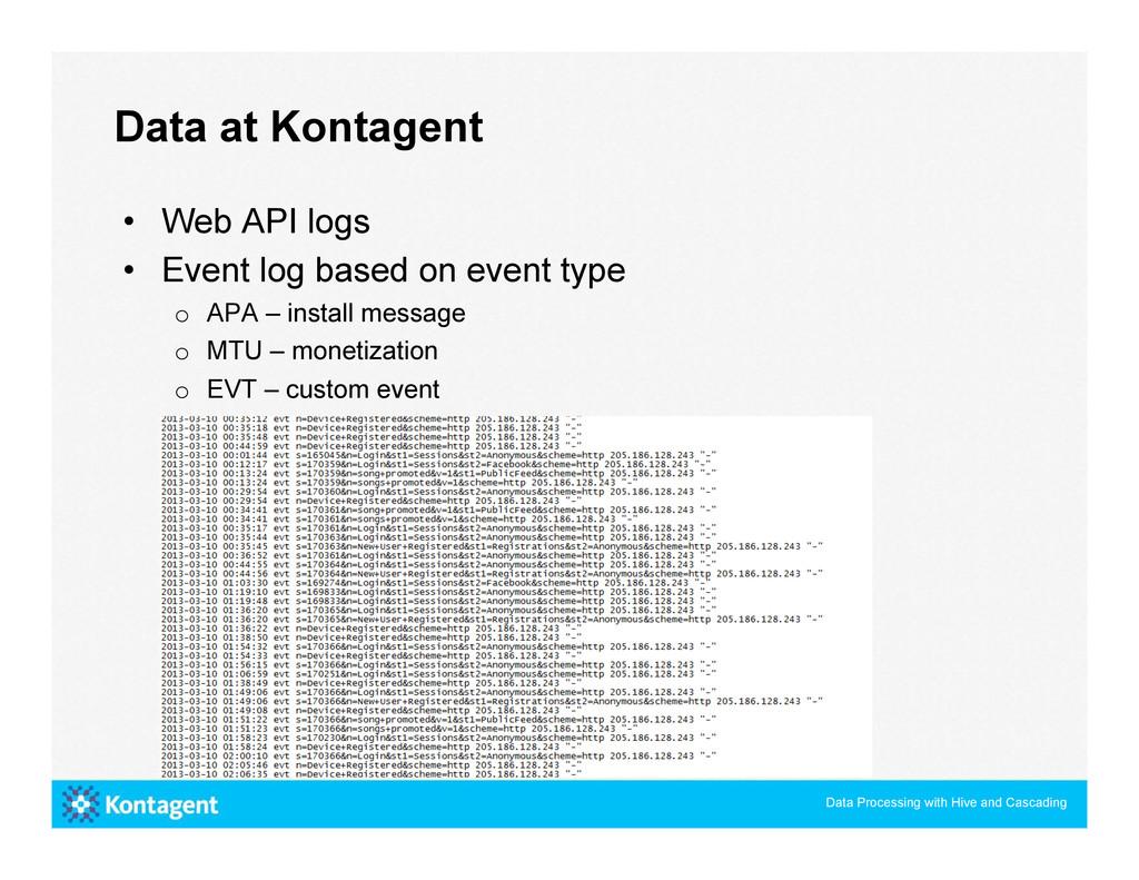 • Web API logs • Event log based on event typ...