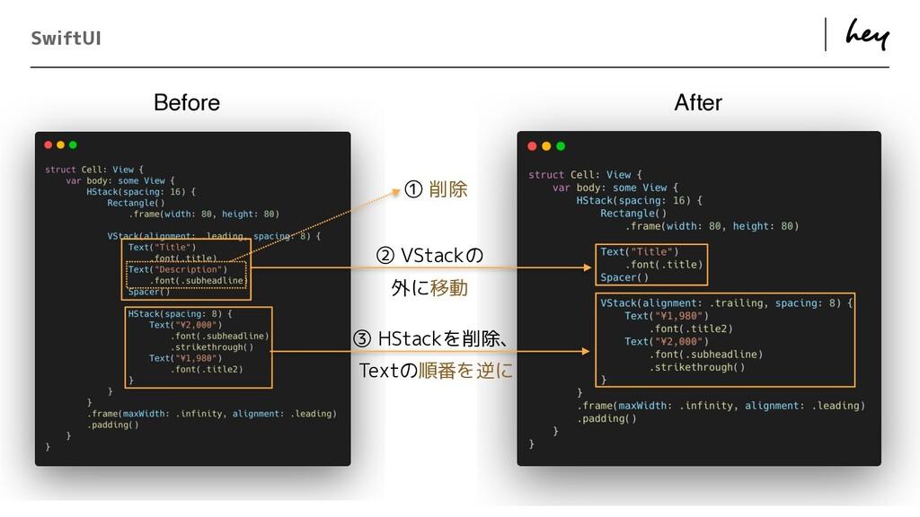 ɹ ɹ SwiftUI ① 削除 ② VStackの   外に移動 ③ HStackを削除、 ...