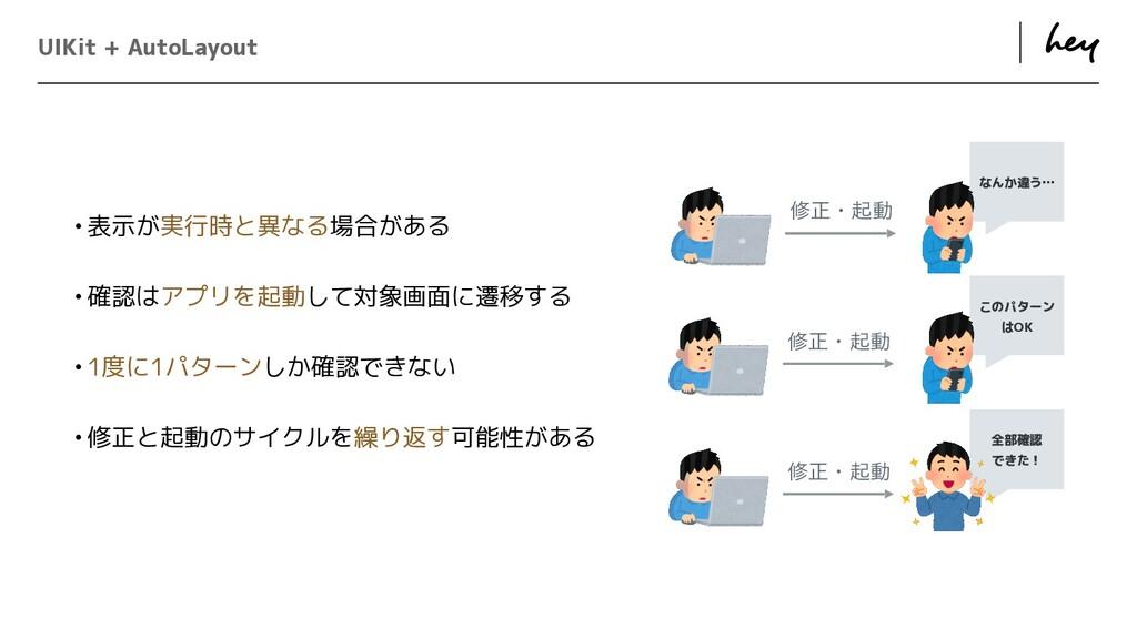 ɹ ɹ なんか違う… UIKit + AutoLayout •表示が実行時と異なる場合がある ...