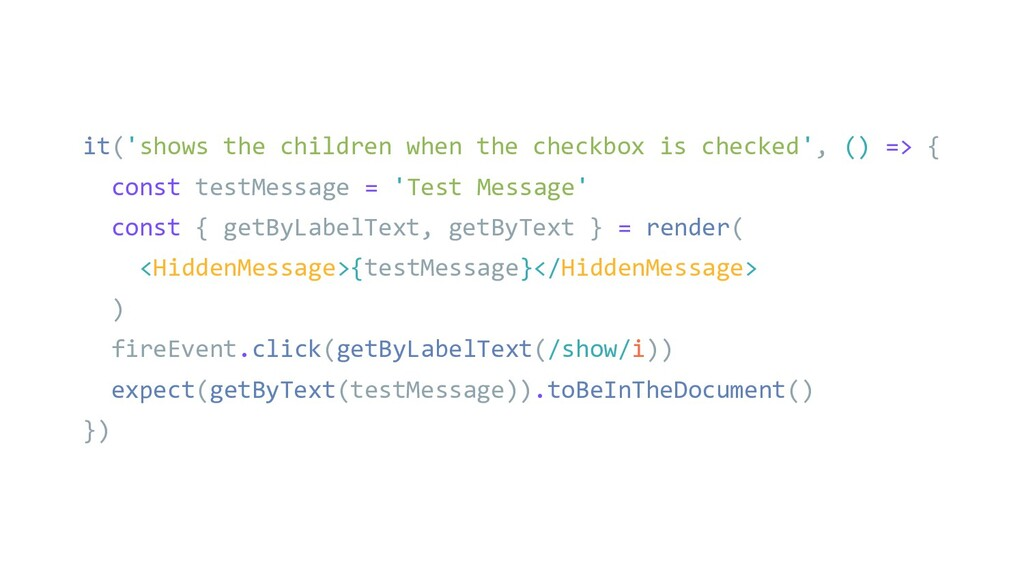 it('shows the children when the checkbox is che...