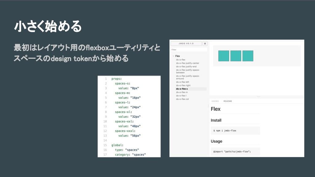小さく始める 最初はレイアウト用のflexboxユーティリティと スペースのdesign to...