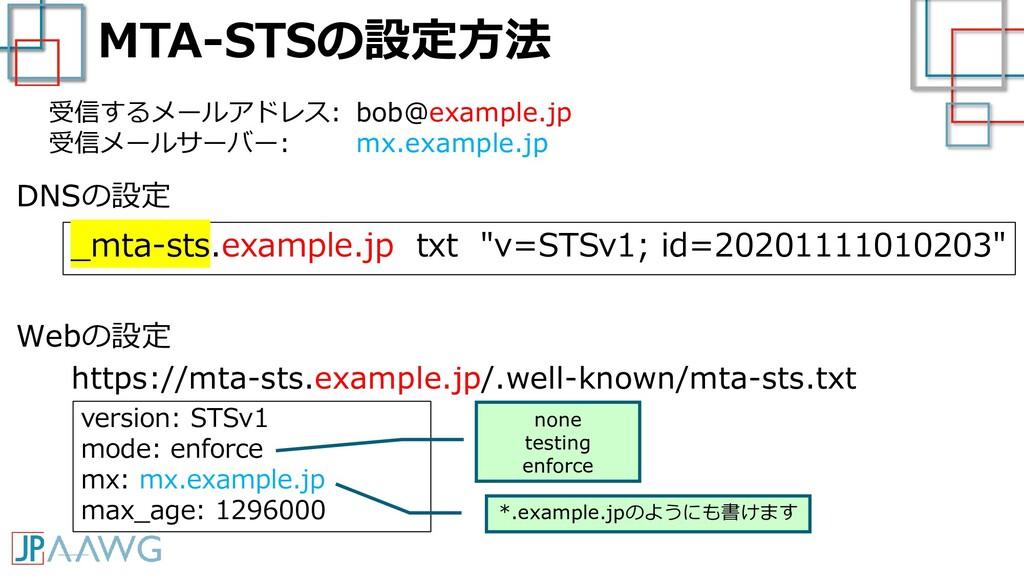"MTA-STSの設定方法 _mta-sts.example.jp txt ""v=STSv1; ..."